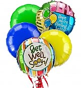 Balloons: Get Well Balloon Bouquet-5 Mylar