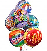 Balloons: Birthday Balloon Bouquet-6 Mylar